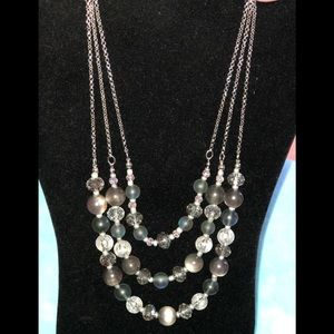 Gray/silver 3 layer necklace